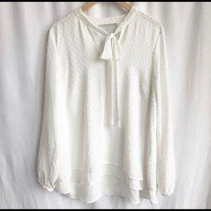 DR 2 white long sleeve blouse